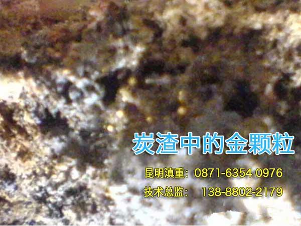 肉眼即可看到活性炭渣中的黄金颗粒